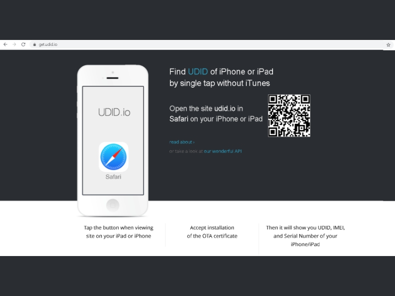 scan UDID QR code on your iPhone